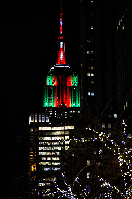 Empire State Building w/Christmas Colors