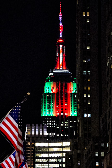 Empire State Building at Christmas with Flags