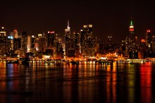 manhattan, new york, skyline, night, new jersey