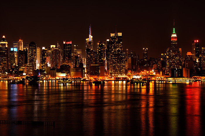 manhattan, new york, skyline, night, new jersey, photo