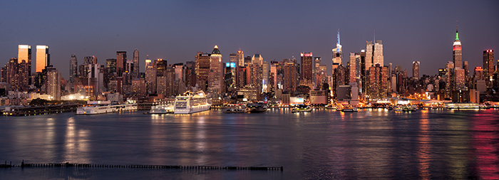 pano, manhattan, skyline, twilight, new york, new jersey, photo